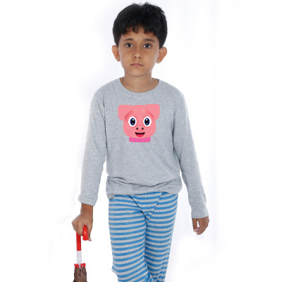 Grey Full Sleeve Boys Pyjama - Brownie